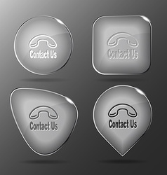 Contact us Glass buttons vector