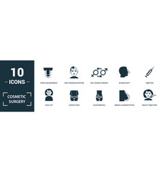 cosmetic surgery icon set monochrome sign vector image