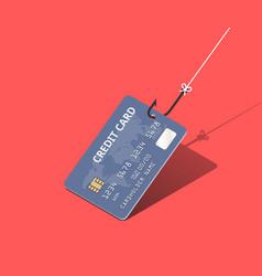 Credit card on fishing hook over scarlet vector