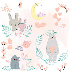 cute animal cartoon spring blossom theme vector image