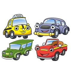 Cute cartoon car characters vector