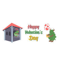 cute green monster playing guitar for girlfriend vector image