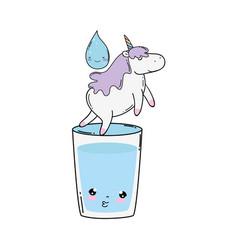 Cute unicorn with water glass kawaii vector