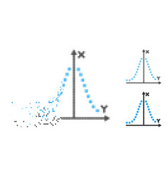 Destructed pixel halftone gauss plot icon vector