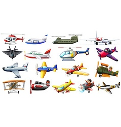 Different kind of aircrafts vector