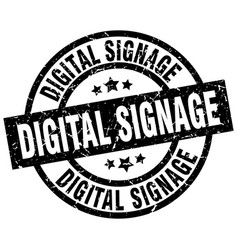 Digital signage round grunge black stamp vector