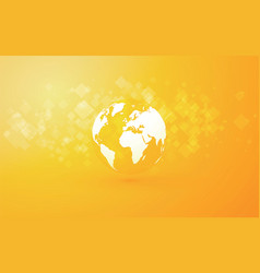 Earth globe abstract yellow background vector