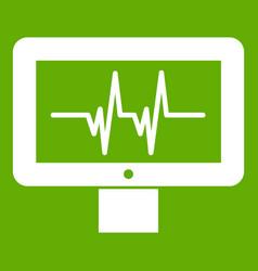 Electrocardiogram monitor icon green vector