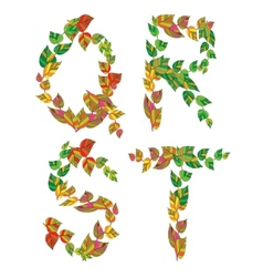 English alphabet made up of branches and leaves vector image
