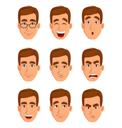 Face expressions of a brown haired man vector