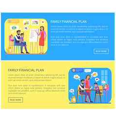 Family financial plan web page vector