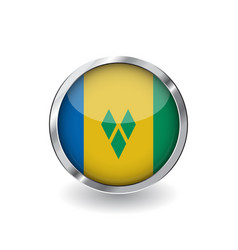 flag of saint vincent and the grenadines button vector image