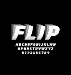 flip style font design alphabet letters and vector image