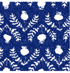 Floral cyanotype dyed effect worn navy pattern vector