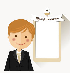 Foreground child costume in her first communion vector