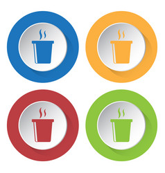 Four round color icons hot fastfood drink smoke vector