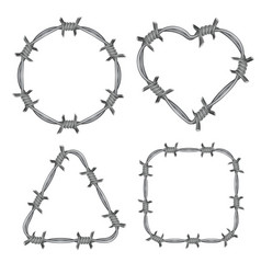 Frame barbed wire set vector