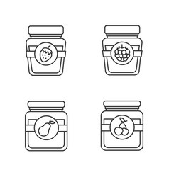 fruit preserves linear icons set vector image