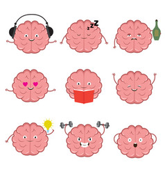 Funny strong healthy and smart brain brains vector