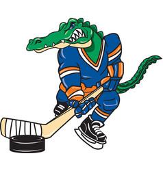 Gator sports hockey logo mascot vector