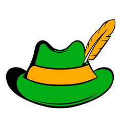 Green hat with a feather icon icon cartoon vector