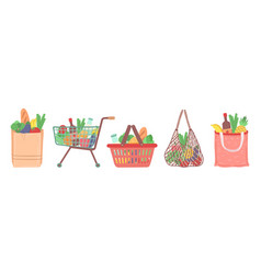 grocery shop bag shopping food cart delivery vector image