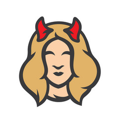 halloween devil girl sign vector image