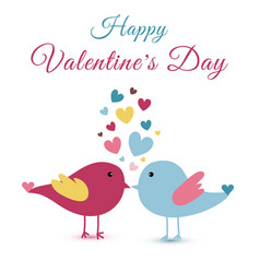 Hand drawn cute lovers birds and heart valentines vector