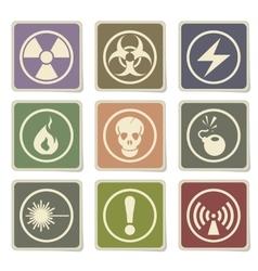 Hazard icons set vector