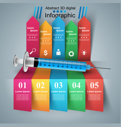 Health syringe icon 3d medical infographic vector