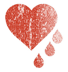 Heart blood drops grunge texture icon vector