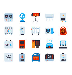 Hvac simple flat color icons set vector