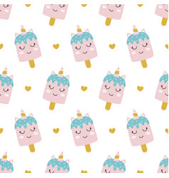 ice cream unicorn seamless pattern vector image