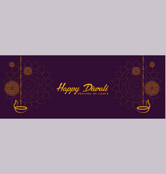 indian style happy diwali decorative banner design vector image