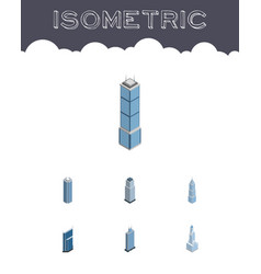 Isometric building set of exterior tower vector