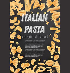 italian pasta background farfalle conchiglie vector image