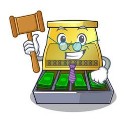 Judge cartoon cash register with a money drawer vector