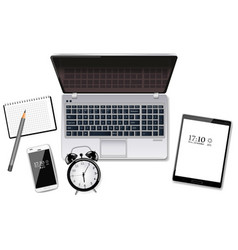 Laptop tablet and smart phone realistic vector