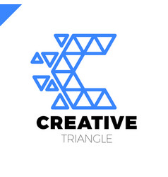 letter c creative triangle color logo design vector image