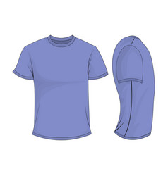 Lilac t-shirt template in front and side views vector