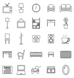 Living room line icons on white background vector image