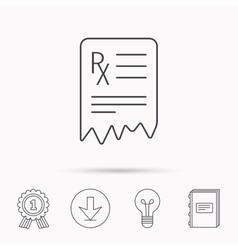 Medical prescription icon health document sign vector