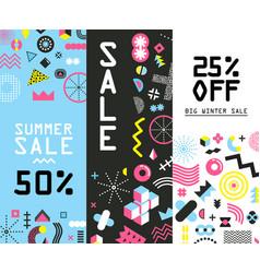memphis sale banners vector image