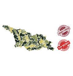 Military camouflage collage of map of georgia vector
