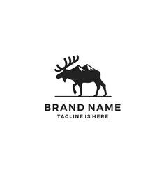 moose mount logo template icon vector image