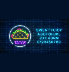 neon glowing sign of tacos in circle frame wuth vector image