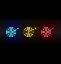 Neon icon set aspirations dartboard set red vector