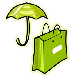 Objects umbrella and paperbag vector