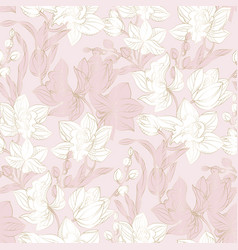 Orchid seamless pattern in pastel and gold color vector