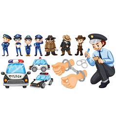 Police officers and police car set vector